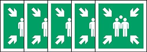 ISO Sicherheitsaufkleber Sign - Evacuation Sammelplatz Symbol - Selbstklebende Aufkleber 150mm x 150mm (Packung mit 5 Aufkleber)