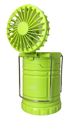 RAMASU,2in1ファン付き LEDランタン LanFan ランファン スライド式 ランタン ファン 扇風機 7枚羽根設計 風量切替2段階 アウトドア 防災 インテリア RA-LF01 イエローグリーン, 本体サイズ:(底面直径)約85mm×(高さ)約139mm/最長時高さ:約258mm