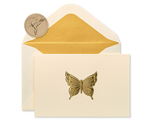 Papyrus Blank Cards with Envelopes, Gold Butterfly (16-Count)