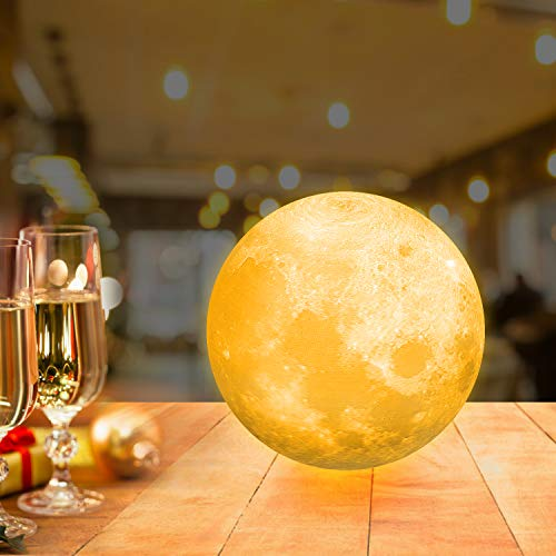 12cm Mondlampe mit Fernbedienung,OxyLED Farbige Dekoleuchte 3D Mond Kunst LED RGB Mondlampe tragbares Nachtlicht mit Dimmbar,16 Lichtfarben wechsel, Weihnachten,Geburtstag