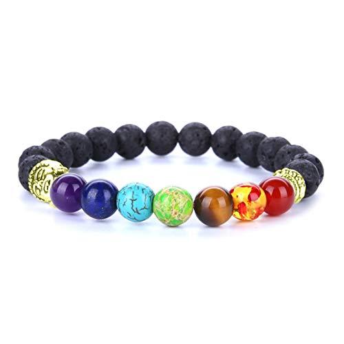 Daesar Pulseras de Piedras Naturales 7 Chacras 8 MM Pulsera Cuentas Colores con Cabeza de Buda