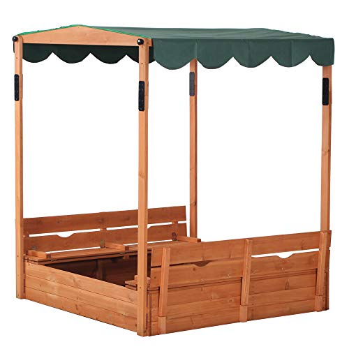 JOYMOR Kids Canopy Covered Wooden Sandbox with/ Built in Bench Seats for Backyard, Home, Lawn, Cedar Square Cabana Sandbox