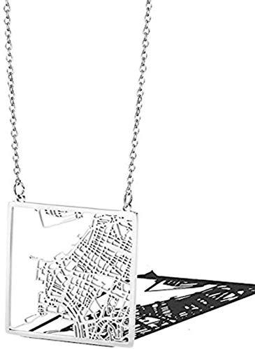 NC110 Collana di Moda - Mappa della Città di Rio de Janeiro in Brasile - Collana in Acciaio al...