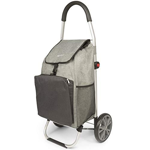 VeoHome Chariot de Course Caddie à roulettes Gris et Noir - Cabas à Roues Pliable avec Sac Isotherme pour Le marché