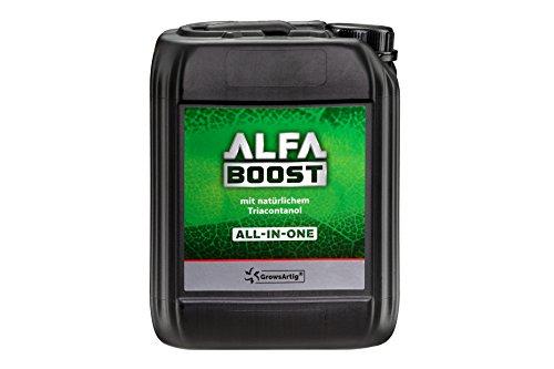 Growsartig ALFA Boost All-IN-ONE Pflanzen-Booster mit Triacontanol 5 Liter. Für Blüte, Wachstum und Bewurzelung. Steigert den Ertrag. Biozertifiziert, 100{3521143e6f74a718e414fab2afcce808ffdbb557b3bbb1051a23d9c3875d3142} organisch und vegan.