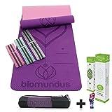 Biomundus esterilla yoga mat antideslizante. Esterilla deporte con material ecológico tpe, con línea de posición, tres bandas fitness, correa y bolsa 183x61x0. 6 cm púrpura