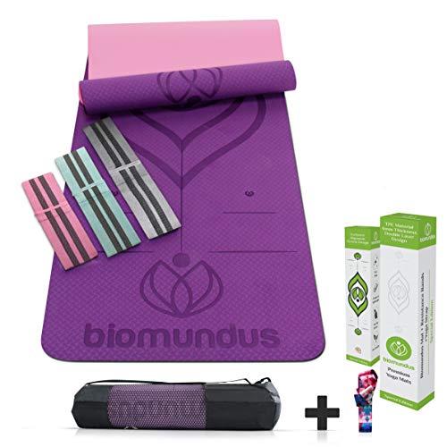 biomundus Esterilla Yoga Mat Antideslizante. Esterilla Deporte con Material Ecológico TPE, con Línea de Posición, Tres Bandas Fitness, Correa y Bolsa 183x61x0.6 cm Púrpura
