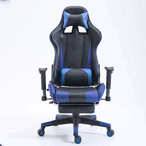 YAMMY Sessel Computerstuhl Gaming-Stuhl Hohe Rückenlehne drehbar Ergonomischer Executive-Büro-Lederstuhl Fußstütze Verstellbarer Arm (Spielstuhl)