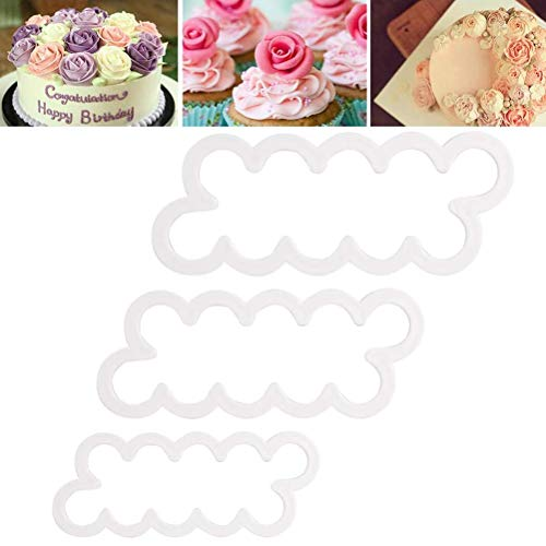 BUNRUN 3PCS 3D Rose Petal Cutter Mould Cake Decorating Flower Fondant Mould Perfect Cake Decorating Supplies Tools