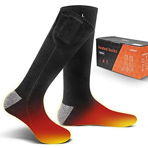 ISOPHO Beheizbare Socken für Herren Damen 3.7V 3500mAh Beheizte Socken Heizbare Socken Heated Socks Elektrische Heizsocken Thermo Socken Wärmesocken Outdoor Motorrad Skifahren
