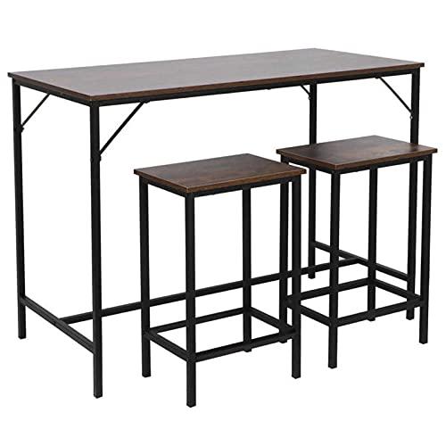 LYUN Conjunto de mostrador de Cocina de 3 Piezas, Mesa de Mesa con taburetes de 2 Bar, Juego de Mesa de Altura de Cena, Muebles industriales Vintage para Sala de Estar