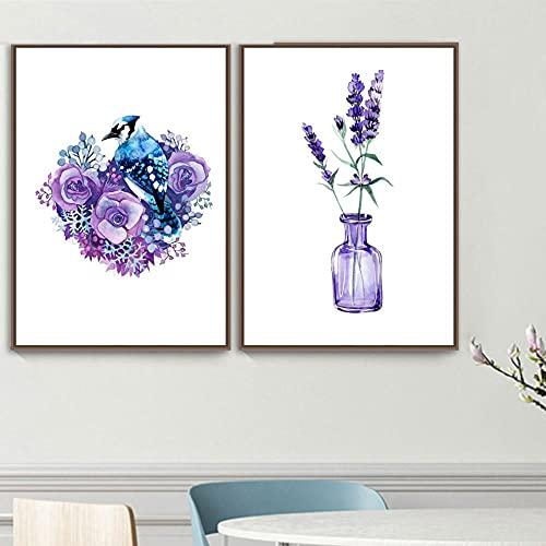 AdoDecor Púrpura Lavanda Flor Planta Hoja pájaro Pared Arte Lienzo Pintura Carteles nórdicos e Impresiones Cuadros de Pared para Decoraciónación de Sala de Estar 50x72cmx2 sin Marco