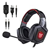 Unicview Cascos Gaming Onikuma K8 (2020) para PS4, PC, Xbox One, Switch Auriculares con Conector 3.5mm con LED Diadema adjustables con Micrófono y Control de Volumen, Cancelación de Ruido