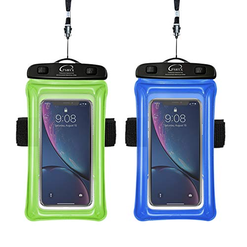 PSHYX Universal 100 Feet Waterproof Phone Bag Floating Case with Arm Band for iPhone 11 Pro Max XS XR X 8 7 6S Plus Samsung Google LG Phone up to 7 Inch (Pack of 2) (Blue+Green)