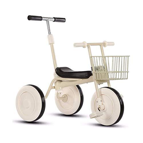 TQJ Cochecito de Bebe Ligero Triciclo Niños con Desmontable Manija De Empuje De 3 Ruedas Niños Pequeños A Niños Paseo En El Pedal De La Bici De Trike 15 Meses A 5 Años (Blanco)