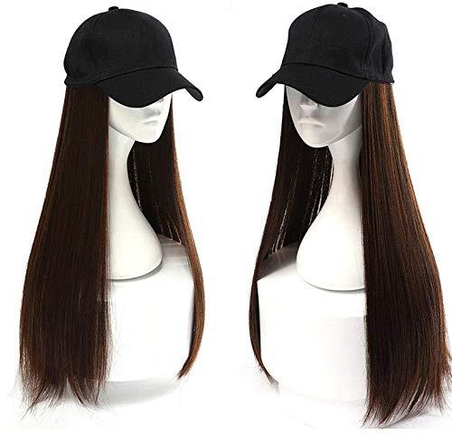 Perücke weiblichen langen Haaren Hut mit Perücke eine weibliche Sommermode lange lockige Haare große Welle natürlichen Netz rot volle KopfbedeckungFisherman schwarzen Hut Instant-Nudeln hellbraun
