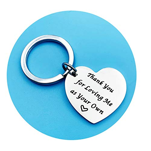 Adokiss Stainless Steel Keychain Tag, Silver Keychains Jewellery Engraved Thank You for Loving me as Your own Birthday, 2.7 X 2.5CM