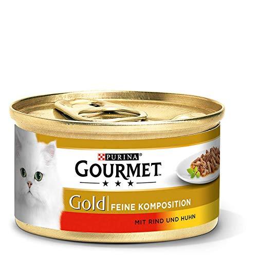 PURINA GOURMET Gold Feine Komposition Katzenfutter nass, mit Rind und Huhn, 12er Pack (12 x 85g)