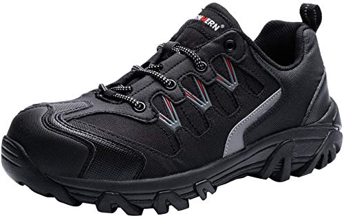LARNMERN Sicherheitsschuhe Arbeitsschuhe Herren, Sicherheit Stahlkappe Stahlsohle Anti-Perforations Luftdurchlässige Schuhe, Schwarz L111, 47 EU
