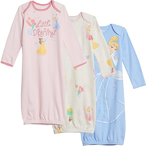 Disney Princesses Baby Girls 3 Pack Swaddle Sleeper Gown Blue/White/Pink 0-6 Months