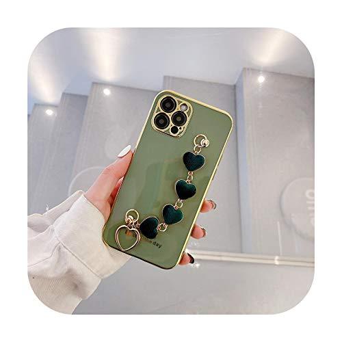 Carcasa de silicona para iPhone 8 Plus X XR XS 12 11Pro Max con diseño de corazón en 3D de lujo con forma de corazón y corazón brillante