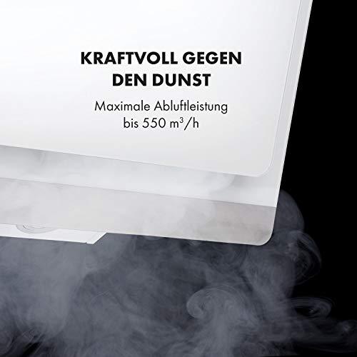 Klarstein Aurora Eco 90 - Wandabzugshaube, Kopffreihaube, Dunstabzugshaube, 90 cm, 550 m³/h Leistung, RGB-Farben, 59 dB leise, Umluft und Abluft, weiß - 4