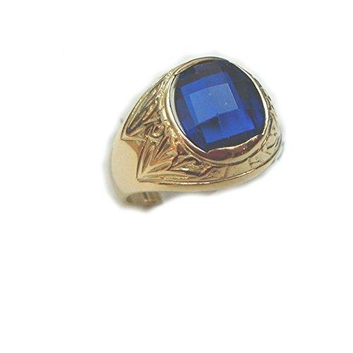 Gioielleria Damiata - Anello Uomo in Oro Giallo 18 kt carati con Quarzo Blu