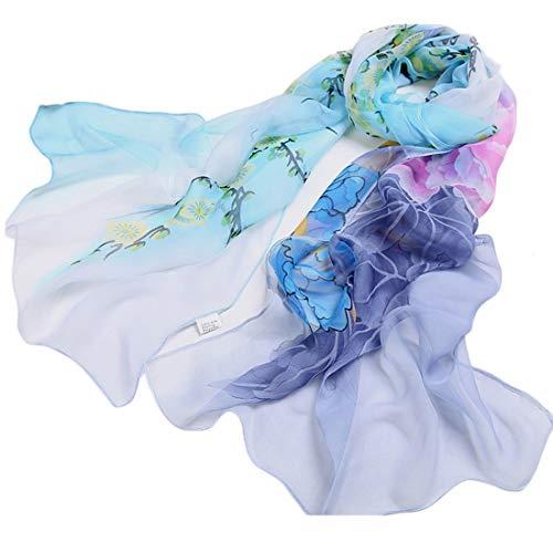 Schal Damen, LANSKIRT Damen Chiffon Floral Schal Soft Wrap Long Schal 164cm x 50cm (Himmelblau)