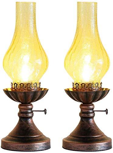 SWAOOS Antigua lámpara de Escritorio de Dos Piezas lámpara eléctrica lámpara de Aceite de Bronce antioxidante Escritorio Mesa de Noche lámpara de salón Antigua,Brown