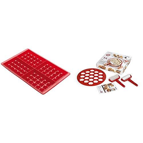 Lékué 0215000R01M017 Molde Silicona, Rojo + Kit de Aperitivos, Rojo, 30x30x3 cm