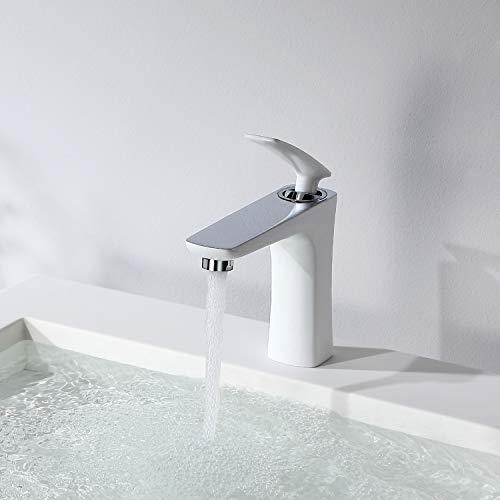 CECIPA Nefeli H102W Grifo Lavabo Blanco con Cromo Moderno Grifo de Baño de Latón Robusto Caliente y Fría
