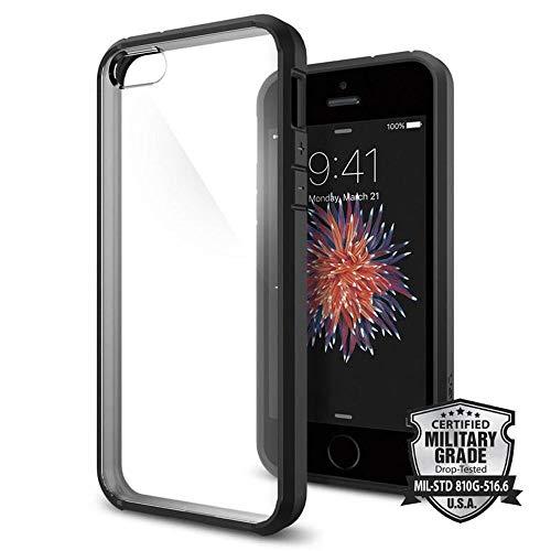 Spigen Ultra Hybrid Hülle Kompatibel mit iPhone SE, iPhone 5s & iPhone 5 -Schwarz