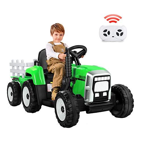METAKOO Tractor Eléctrico 12V 7Ah, 2+1 Cambio de Marchas, 25W Tractor Batería...
