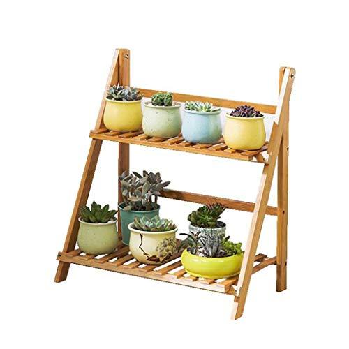 FZN Support de Bambou Pliant à Deux Niveaux Échelle d'étagère en Bois Simple pour Plantes d'extérieur Échelle pour Balcon Pots de Fleurs (Taille : 50 * 31 * 56cm)