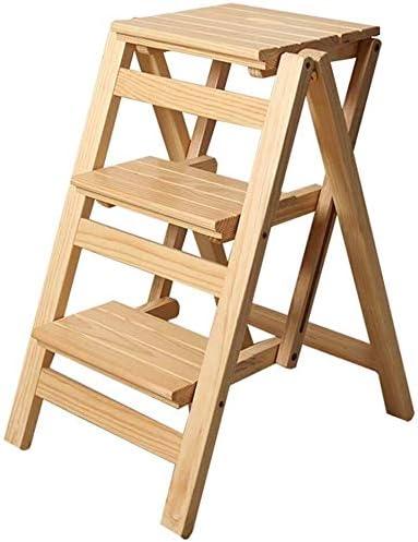 XITER Escabeaux Pliantes en Bois escabeau for Adultes Enfants Cuisine Petits /Échelles Multifonctions Escabeau//Stairway Chaise avec 2 /étapes for la Maison Couleur : Natural