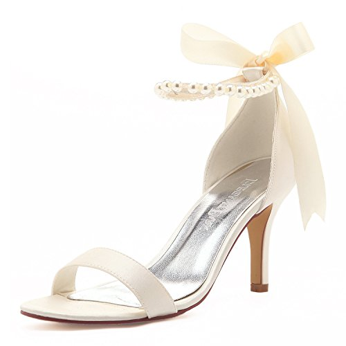 Elegantpark HP11053 Bequem High Heel Einfache Perlen-Riemchen Satin Brautschuhe Sandalen Ivory Gr.41