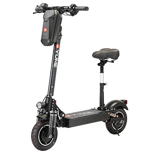 """[US Warehouse] Yume D4+ Powerful 10"""" Dual Motor 2000W Pneumatic Tire Up to 40Mile 40MPH Foldable Electric Scooter with Seat for Adults"""