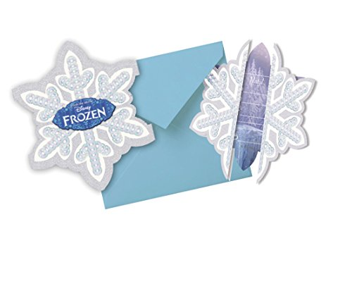 Procos Frozen Einladungskarten cut out FROZEN NEU ICE SKATING Dekoration Raumdekoration Elsa und Anna Kindergeburtstag, Hellblau