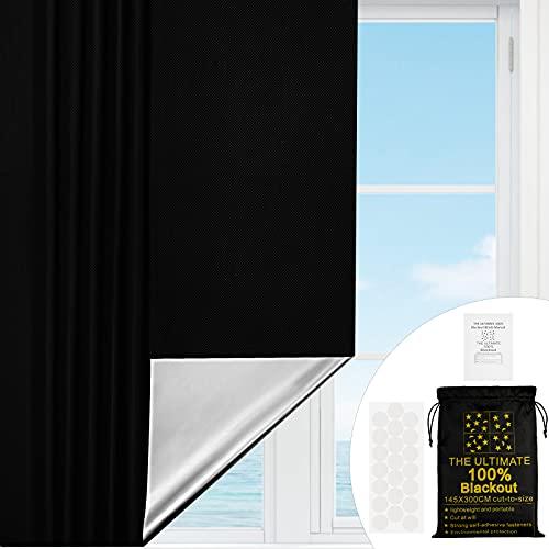 Verdunklungsstoff, Lichtundurchlässig Gardinen ,Sonnenschutz Folie mit Thermobeschichtung , lichtundurchlässig Isolierung für Dachfenster, Verdunkelungsvorhänge mit 21Stück Saugnapf (300cm x 145cm)