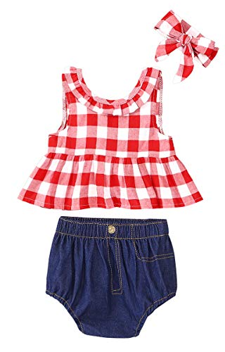SWNONE 3Pcs Baby Girls Plaid Ruffle Bowknot Tank Top+Denim Shorts +Headband Outfit (Red, 6-12 Months)