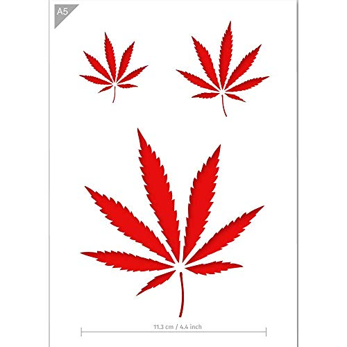 QBIX Cannabis Schablone - A5 Größe - Wiederverwendbare kinderfreundliche DIY Schablone zum Malen, Backen, Basteln, Wand, Möbel