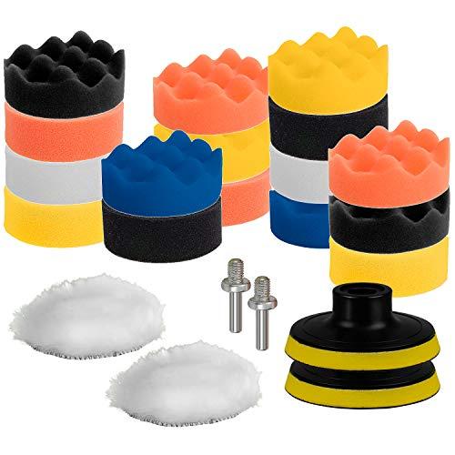CANOPUS 22 PZ / 3inch (80 mm), Kit de Esponja de Pulido, Almohadillas de pulir para Coche, Esponja pulir Coche, Almohadillas de Pulido para encerar, pulir y sellar, con Adaptador de Taladro