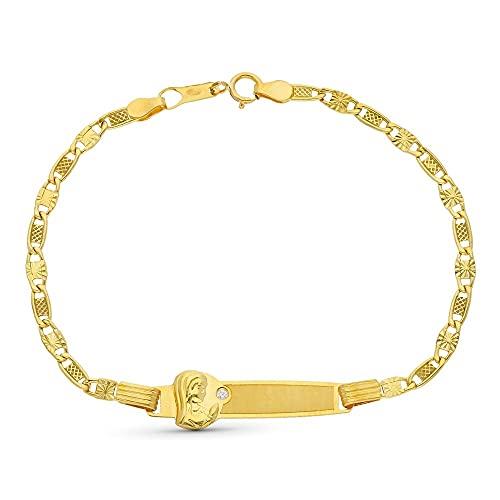 Esclava oro 18k Virgen Niña 17.5 cm. chapa circonita eslabones detalles - Personalizable - GRABACIÓN INCLUIDA EN EL PRECIO