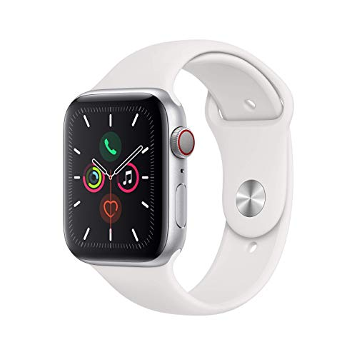 Apple Watch Series 5 (GPS + Cellular, 44MM) - Silver Aluminum Case with White Sport Band (Renewed)