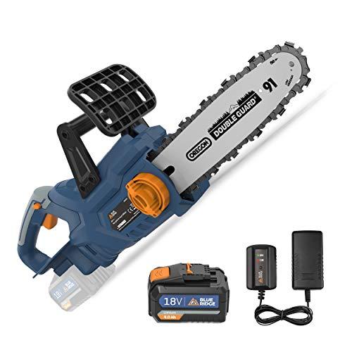 BlueRidge BR8350 - Motosierra eléctrica de 18 V con batería de ion de litio de 4 Ah, 25 cm de longitud, con freno de cadena, protección antirretorno, lubricación automática para madera y jardín