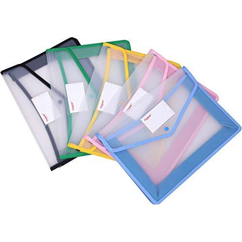 A4サイズクリアケース資料 書類 整理収納 ボタン式5色容量 半透明 防水 ファイル袋 オシャレ 可愛いファイル袋 ボタン式ファイル袋 クリアファイル ファイルケース プロジェクトファイル