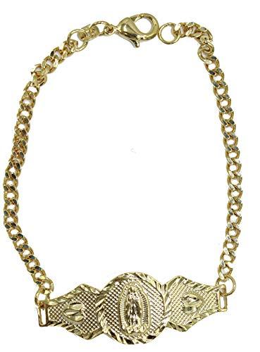 Diamantados of Florida Pulsera Virgen de Guadalupe chapada en oro de 18 quilates de 17,78 cm – Nuestra Virgen de Guadalupe Pulsera chapada en oro de 18 quilates