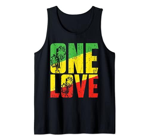 One Love Jamaica T Shirt Rasta Reggae Music Caribbean Pride Tank Top