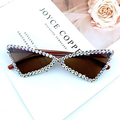 DFSMG Sexy Gato Ojo Gafas de Sol Mujeres sin llanta Rhinestone Vintage Gafas de Sol Mujer Dama Caramelo 2021 Gafas triángulo Tonos UV400 (Lenses Color : 5)