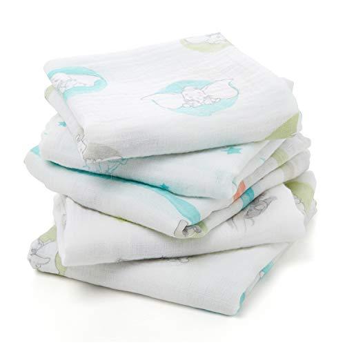 aden by aden + anais langes musy, 100% mousseline de coton, 60cm x 60cm, pack de 5, flying Dumbo